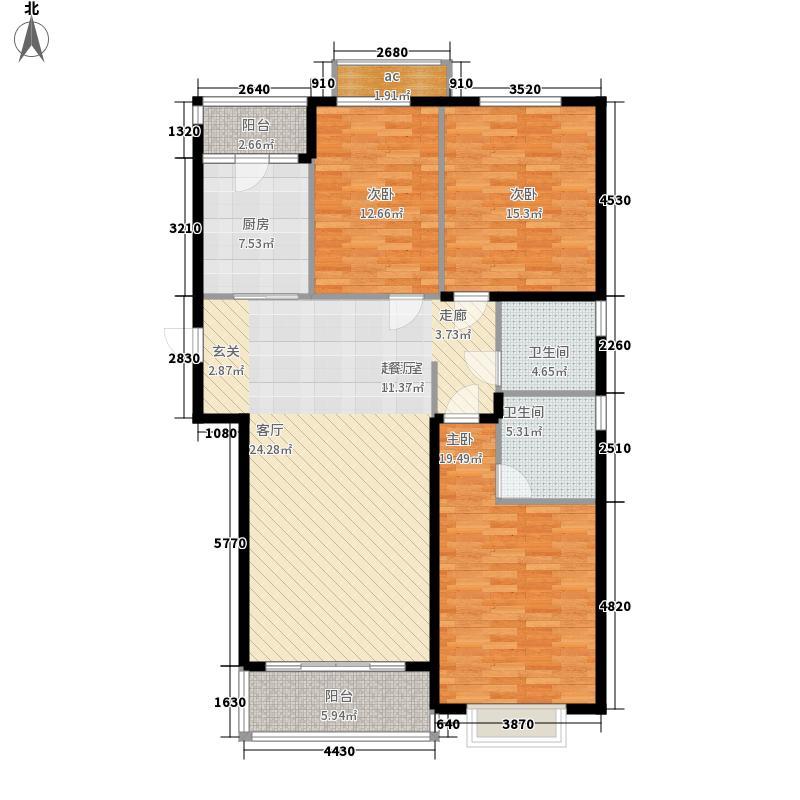 恒大御景半岛132.71㎡12#楼户型3室2厅