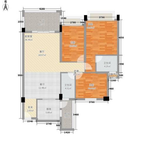 新世界花园帝景台3室0厅2卫1厨113.00㎡户型图