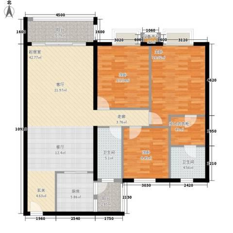 新世界花园帝景台3室0厅2卫1厨110.48㎡户型图