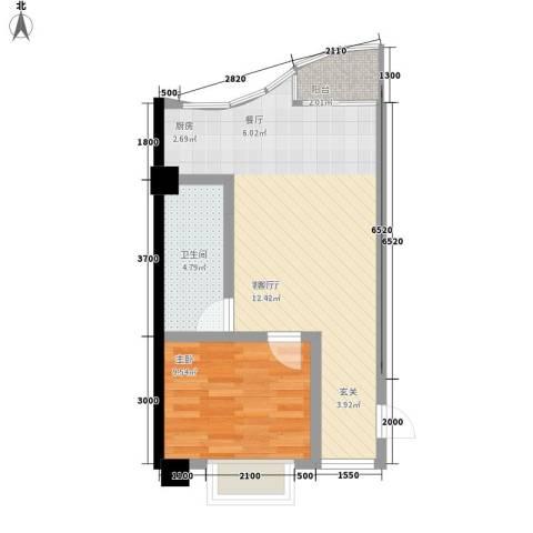 天骄国际1室1厅1卫0厨47.43㎡户型图