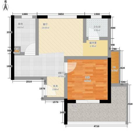 天骄国际1室1厅1卫1厨55.00㎡户型图