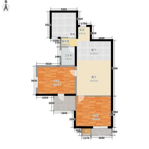 天骄国际2室1厅1卫1厨100.18㎡户型图