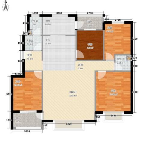 天骄国际4室1厅2卫1厨113.95㎡户型图