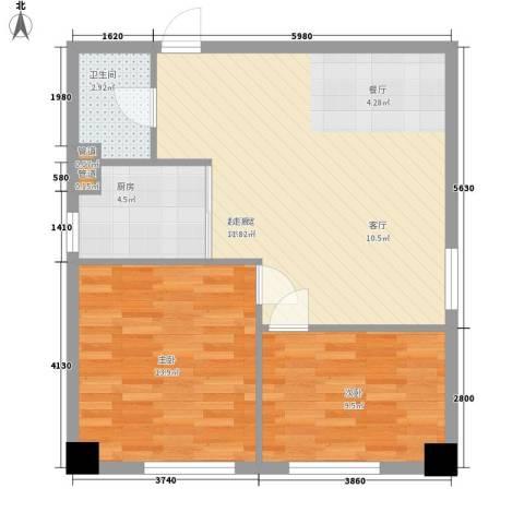 金州福佳新天地广场2室0厅1卫1厨80.00㎡户型图