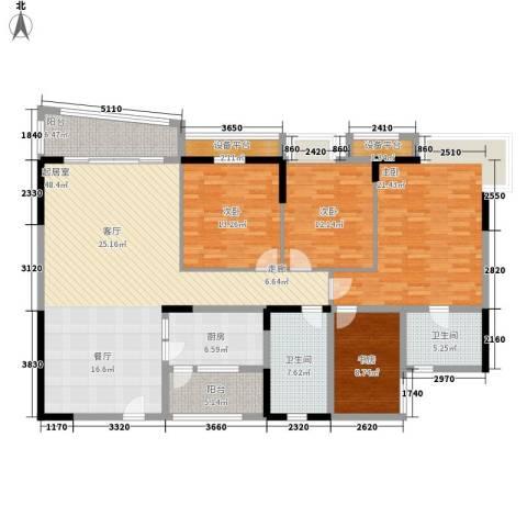 莲花苑四期4室0厅2卫1厨154.00㎡户型图