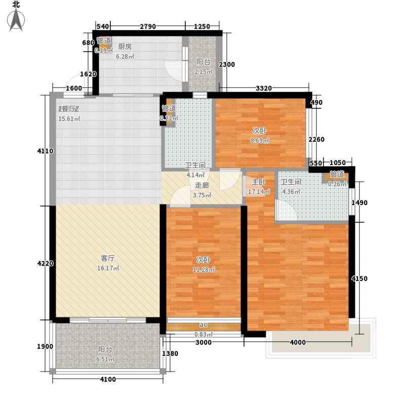 恒大御景半岛133.76㎡5#楼1单元三室户型3室2厅