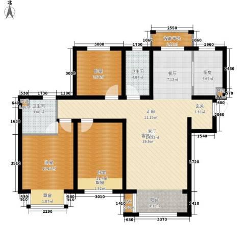 鲁能7号院・溪园1厅2卫1厨118.00㎡户型图