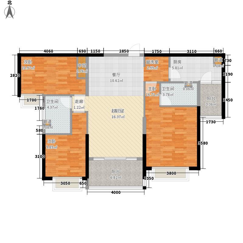 恒大御景半岛130.81㎡4#/6#/7#楼1单元三室户型3室2厅