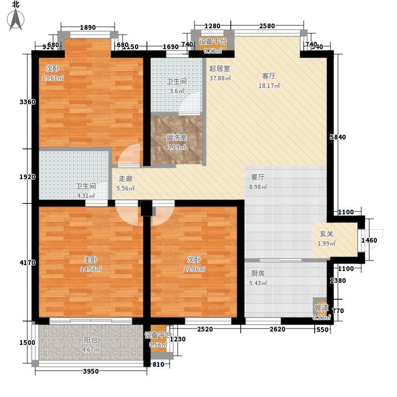 龙湖花园92.00㎡龙湖花园3室户型3室