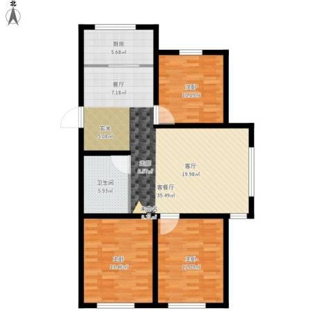 韩建大成府3室1厅1卫1厨118.00㎡户型图