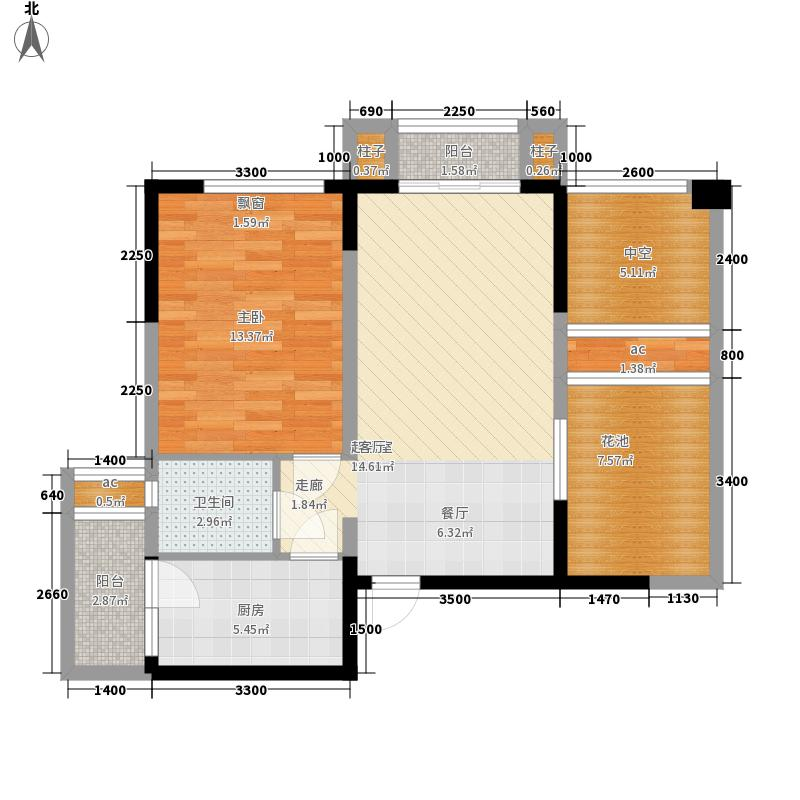 紫荆城65.00㎡21号楼标准层A-1户型