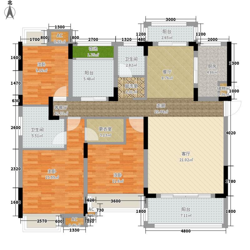 佰利・奥体城133.00㎡A2-1户型3室2厅2卫