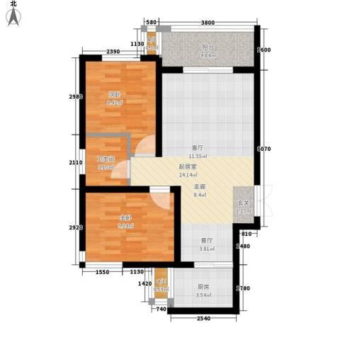 天朗西子湖2室0厅1卫1厨76.00㎡户型图