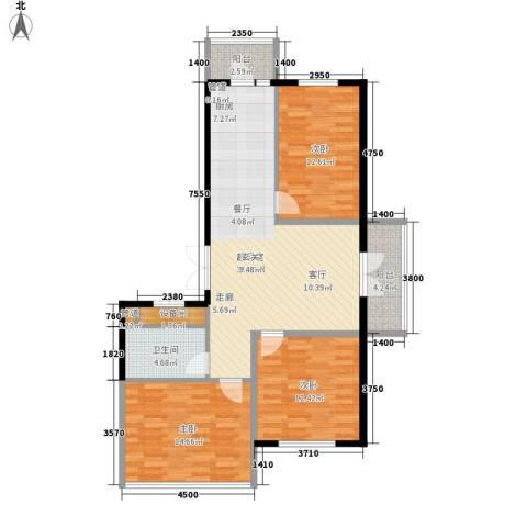 铂宇剑桥郡3室0厅1卫0厨93.00㎡户型图