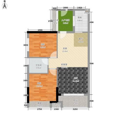 元邦明月水岸2室0厅1卫1厨68.15㎡户型图