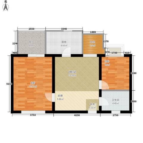 万华园丽景华都2室0厅1卫1厨73.00㎡户型图