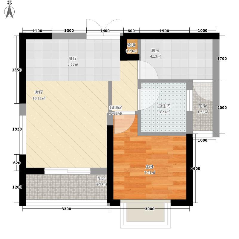 鑫苑名家52.24㎡C2型户型1室2厅1卫1厨