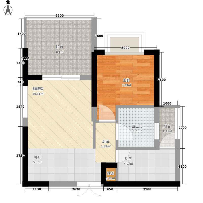 鑫苑名家55.27㎡C1型户型1室2厅1卫1厨