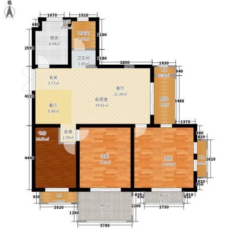 银河湾紫苑二期3室0厅1卫1厨150.00㎡户型图