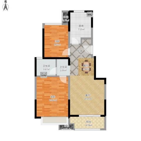 万科时一区2室1厅1卫1厨100.00㎡户型图