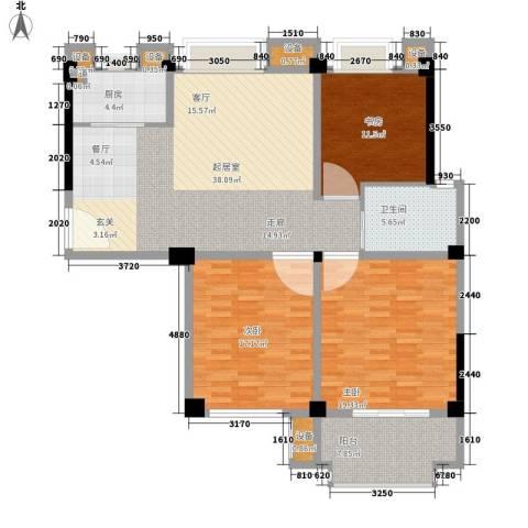 名门世家3室0厅1卫1厨121.00㎡户型图