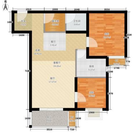 广丰花园2室1厅1卫1厨83.00㎡户型图