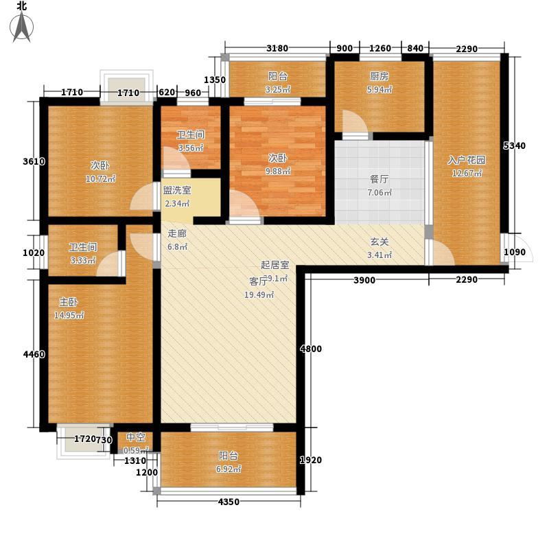 平安华府12.00㎡7号楼B1户型3室2厅2卫1厨
