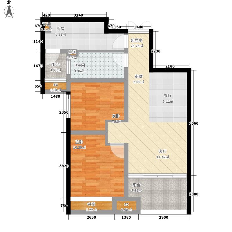 济南鲁能领秀城88.73㎡济南鲁能领秀城户型图3号楼B-2户型2室2厅1卫户型2室2厅1卫