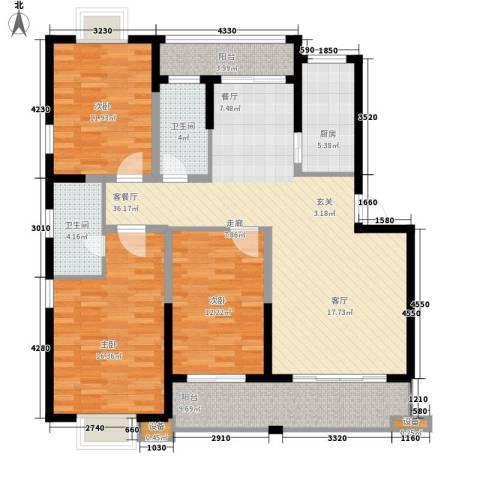 枫逸人家3室1厅2卫1厨121.00㎡户型图