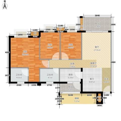 雍逸华庭3室1厅2卫1厨118.00㎡户型图