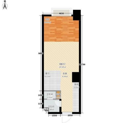 海信・龙奥九号1厅2卫0厨61.00㎡户型图