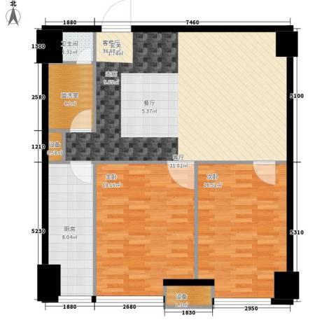 海信・龙奥九号2室1厅1卫1厨97.00㎡户型图