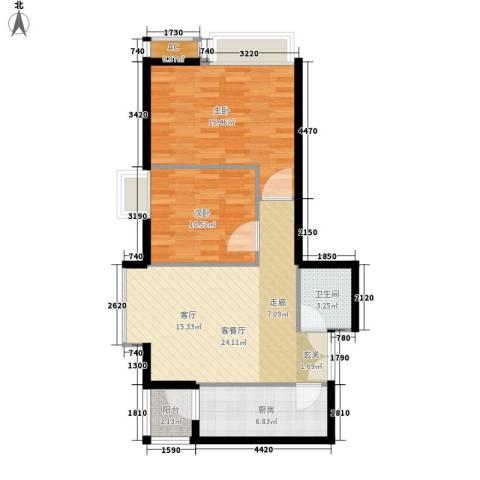高新枫尚2室1厅1卫1厨70.00㎡户型图