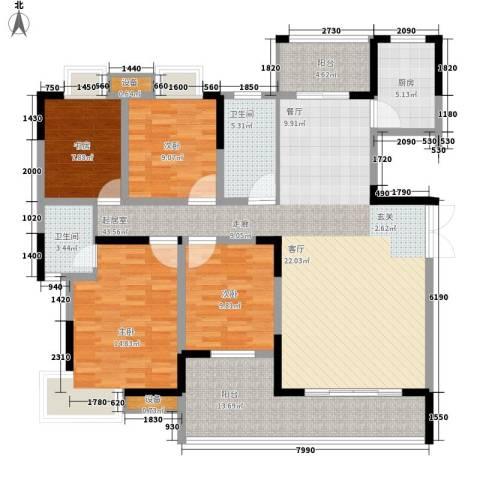 联泰香域尚城4室0厅2卫1厨136.00㎡户型图