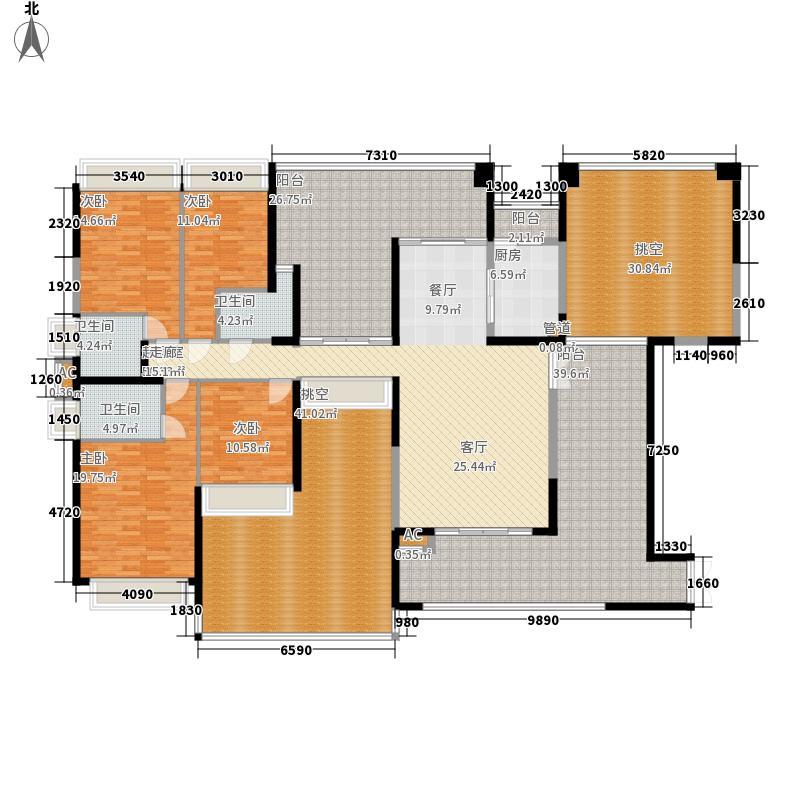 公园大地168.58㎡17栋01奇数层4房2厅3卫168.58平方米户型