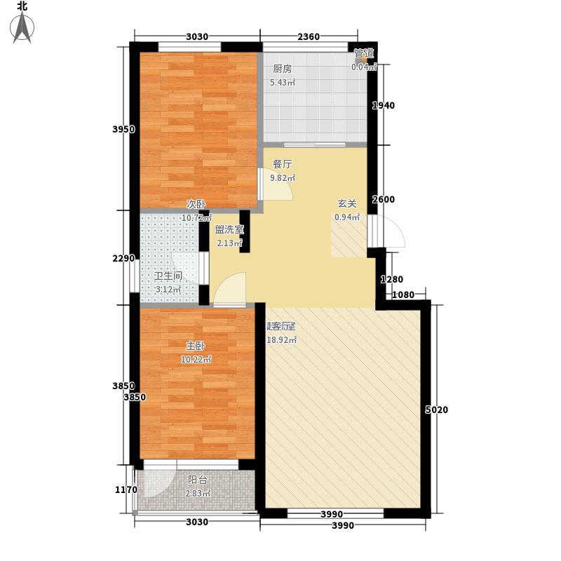 金海湾2期82.11㎡金海湾2期户型图8#、15#楼D户型2室2厅1卫1厨户型2室2厅1卫1厨