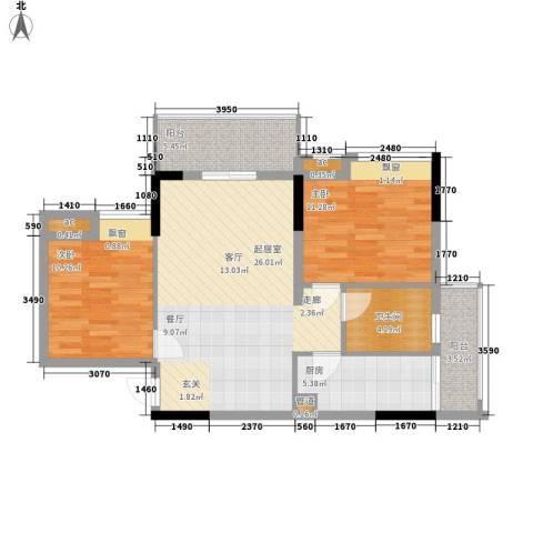 天马河壹号三期・御景湾2室0厅1卫1厨77.00㎡户型图