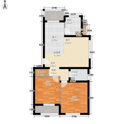 新天地公寓2室0厅1卫1厨114.00㎡户型图