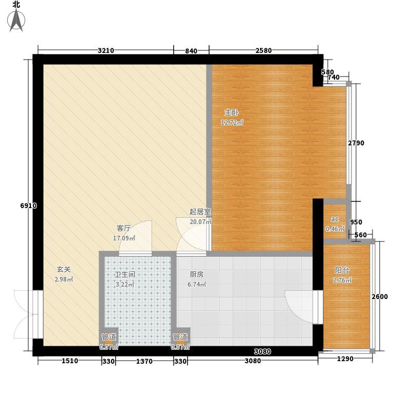 化工西村46.00㎡化工西村1室户型1室