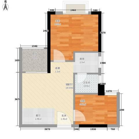雅仕荔景苑2室1厅1卫0厨50.00㎡户型图