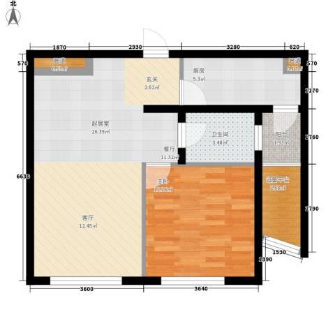 新天地公寓1室0厅1卫1厨60.97㎡户型图