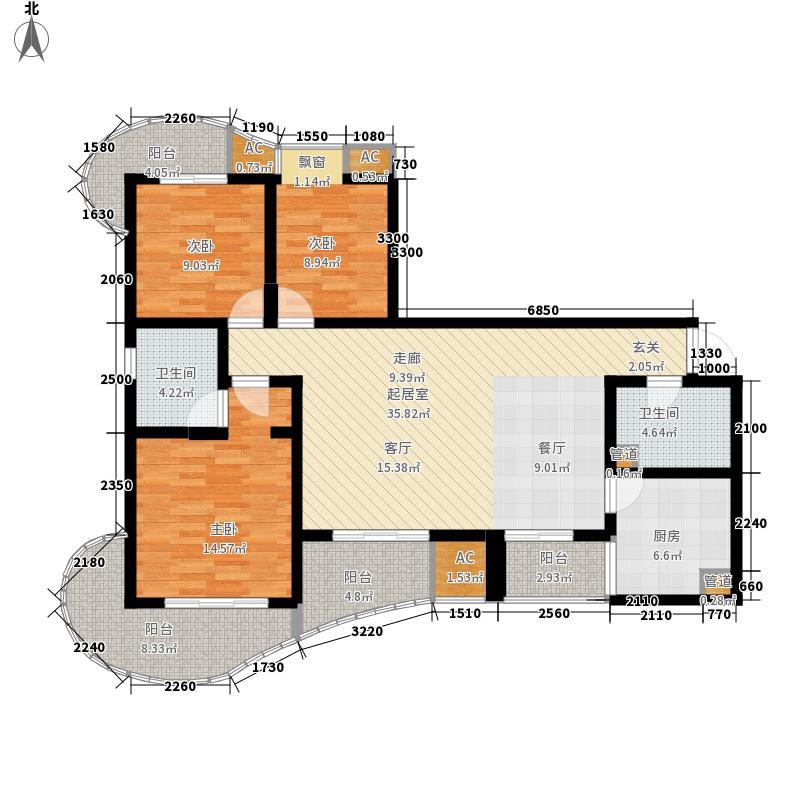 外滩129.00㎡外滩户型图H户型3室2厅2卫1厨户型3室2厅2卫1厨