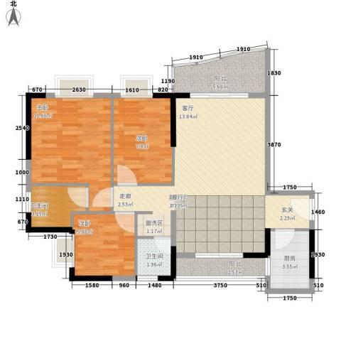 雅仕荔景苑3室1厅2卫1厨98.00㎡户型图