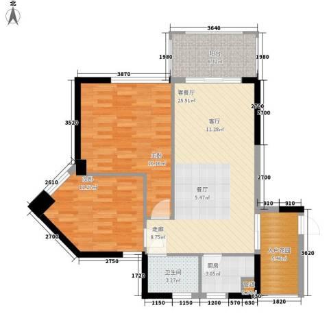 金色港湾五期2室1厅1卫1厨93.00㎡户型图