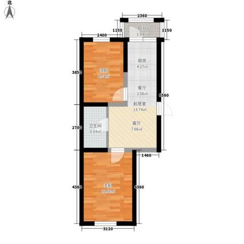 幸福里2室0厅1卫0厨46.00㎡户型图