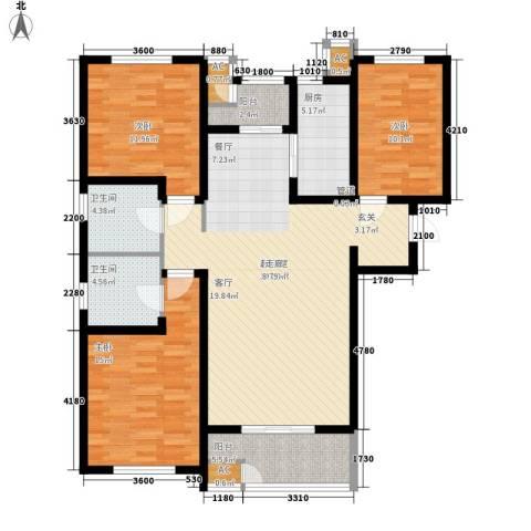 世嘉光织谷3室0厅2卫1厨126.00㎡户型图