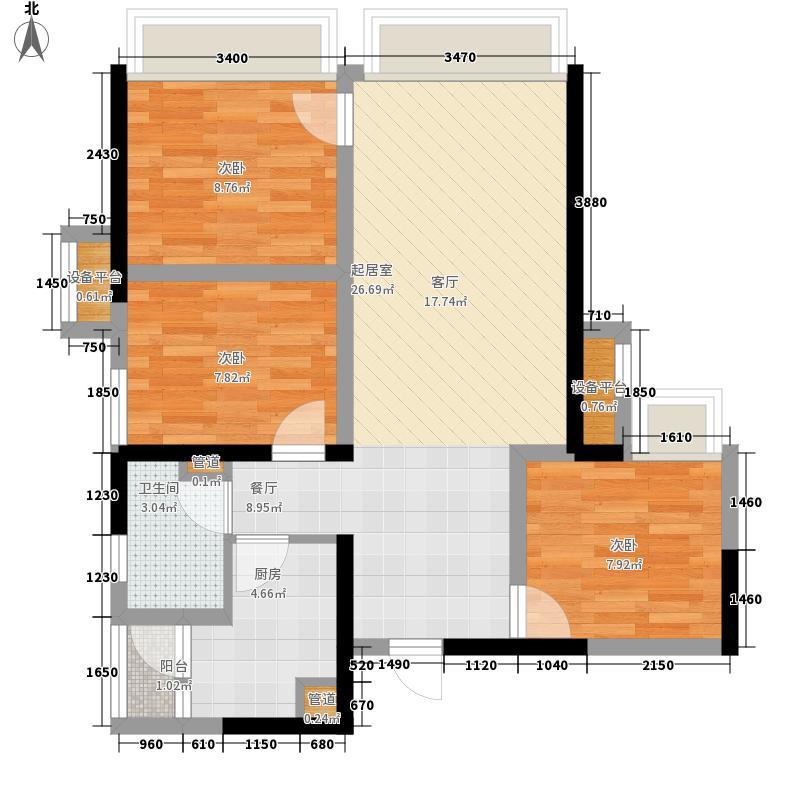 天府逸家7.52㎡2期16号楼B-1户型3室2厅1卫1厨