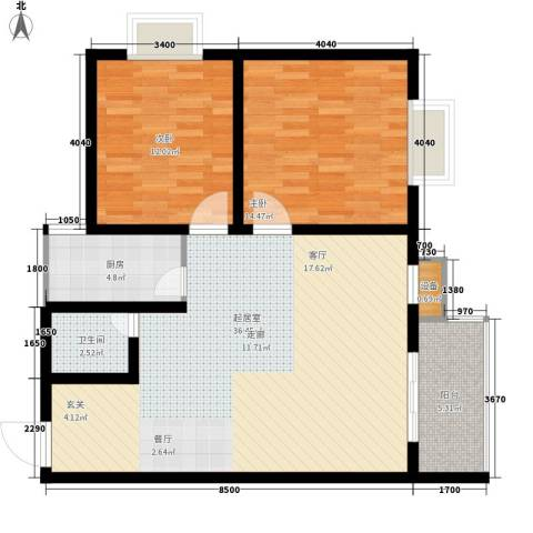 东城翡翠湾2室0厅1卫1厨84.00㎡户型图
