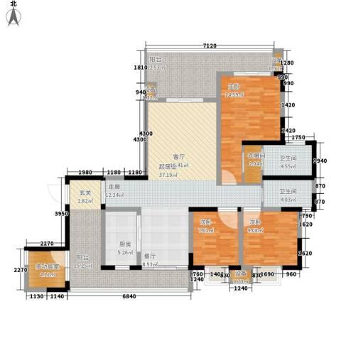 保利国际高尔夫公馆3室0厅2卫1厨142.00㎡户型图