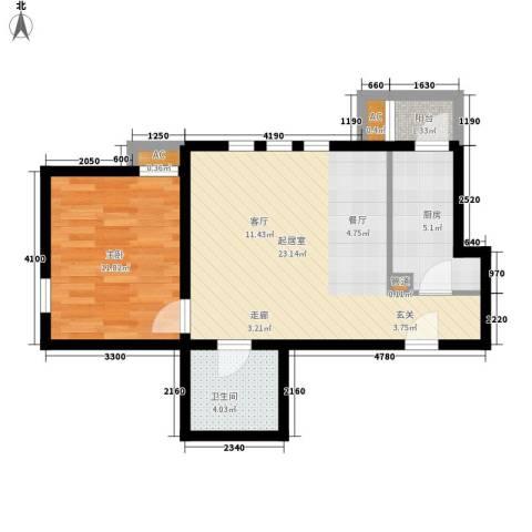 德盈大厦1室0厅1卫1厨67.00㎡户型图